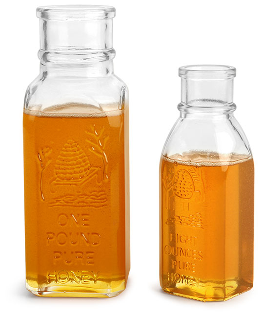Clear Glass Muth Style Honey Bottle (Bulk), Corks NOT Included