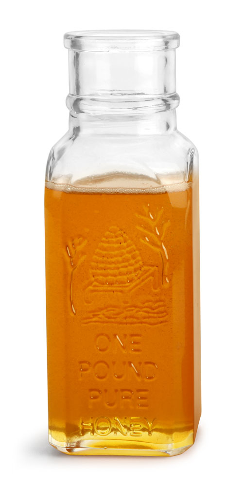 16 oz Clear Glass Muth Style Honey Bottle (Bulk), Corks NOT Included