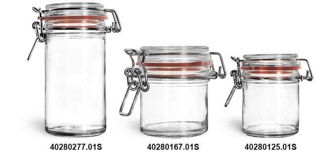 Clear Glass Jars, Clear Glass Wire Bale Jars w/ Hinged Lids