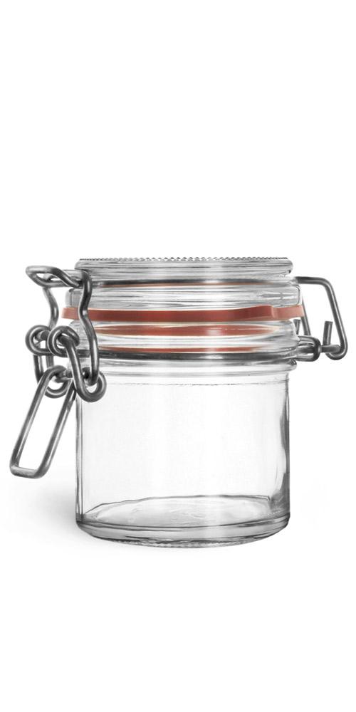 167 ml Glass Jars, Clear Glass Wire Bale Jars