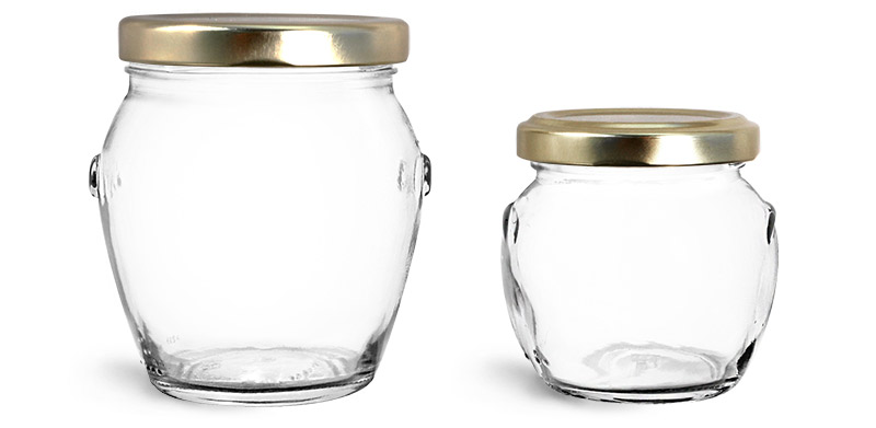 Clear Glass Jars, Clear Glass Honey Pot Jars w/ Gold Metal Plastisol Lined Lug Caps