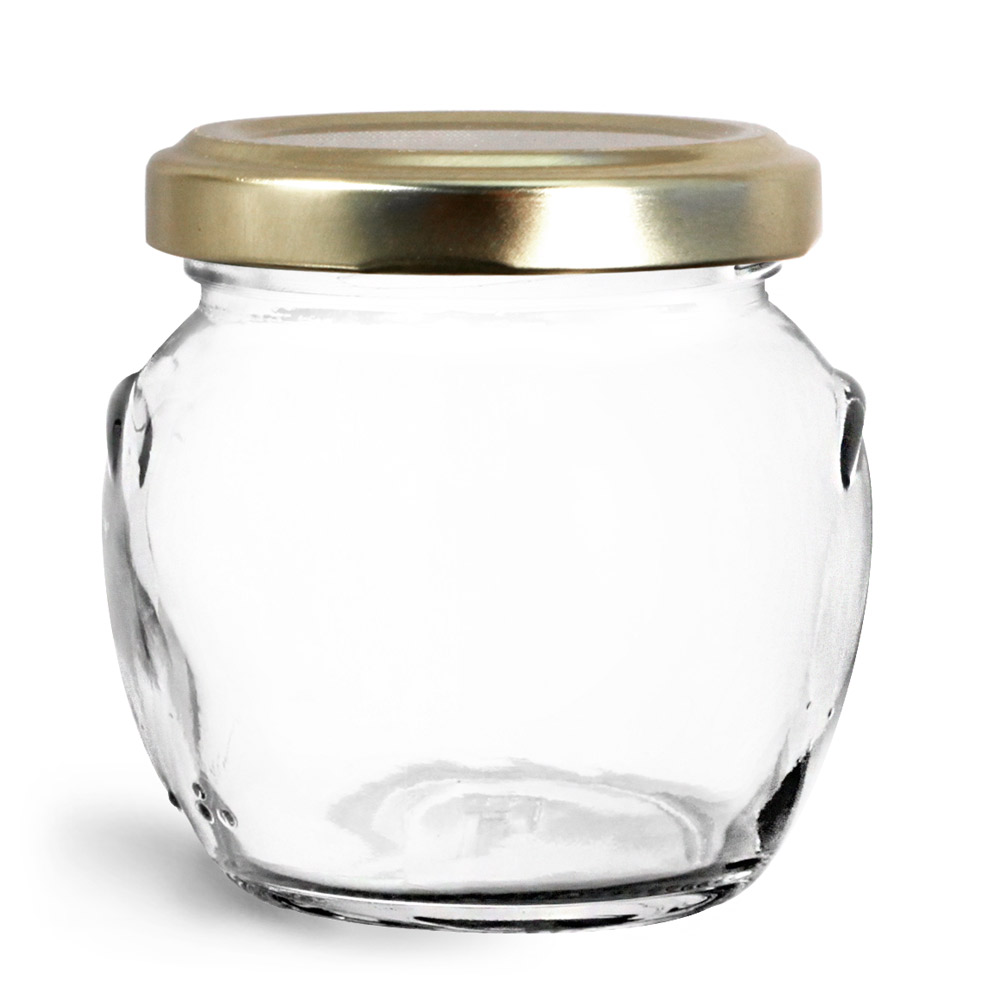 106 ml Glass Jars, Clear Glass Honey Pot Jars w/ Gold Metal Plastisol Lined Lug Caps