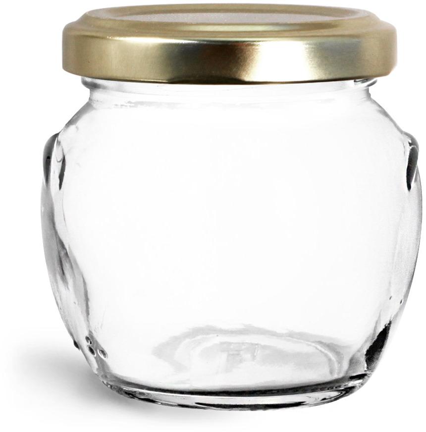 Glass Jars, Clear Glass Honey Pot Jars w/ Gold Metal Plastisol Lined Lug Caps