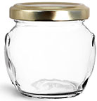 106 ml 106 ml Glass Jars, Clear Glass Honey Pot Jars w/ Gold Metal Plastisol Lined Lug Caps