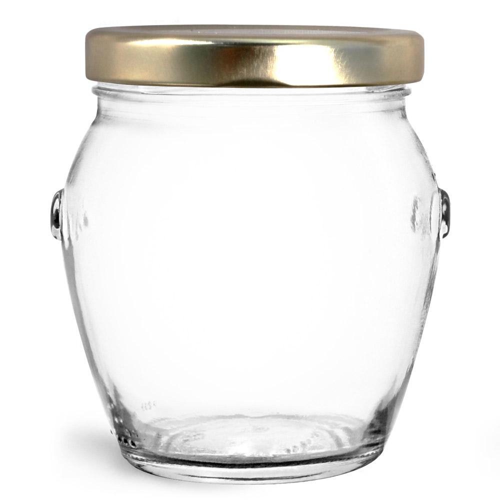 212 ml Glass Jars, Clear Glass Honey Pot Jars w/ Gold Metal Plastisol Lined Lug Caps
