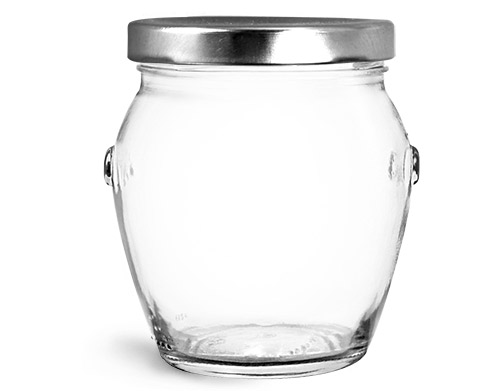 Clear Glass Jars, Clear Glass Honey Pot Jars w/ Silver Metal Plastisol Lined Lug Caps