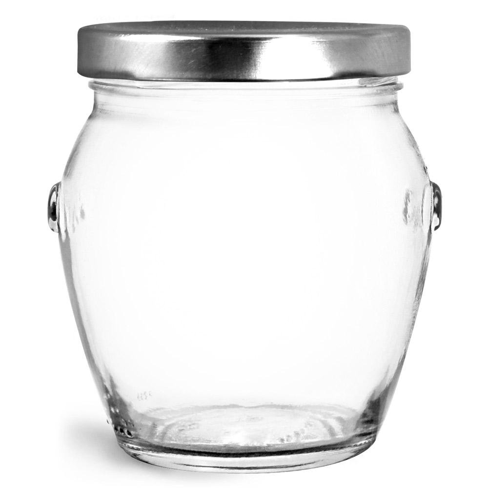 212 ml Glass Jars, Clear Glass Honey Pot Jars w/ Silver Metal Plastisol Lined Lug Caps