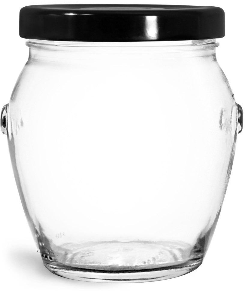 Glass Jars, Clear Glass Honey Pot Jars w/ Black Metal Plastisol Lined Lug Caps