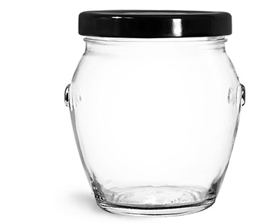 Clear Glass Jars, Clear Glass Honey Pot Jars w/ Black Metal Plastisol Lined Lug Caps