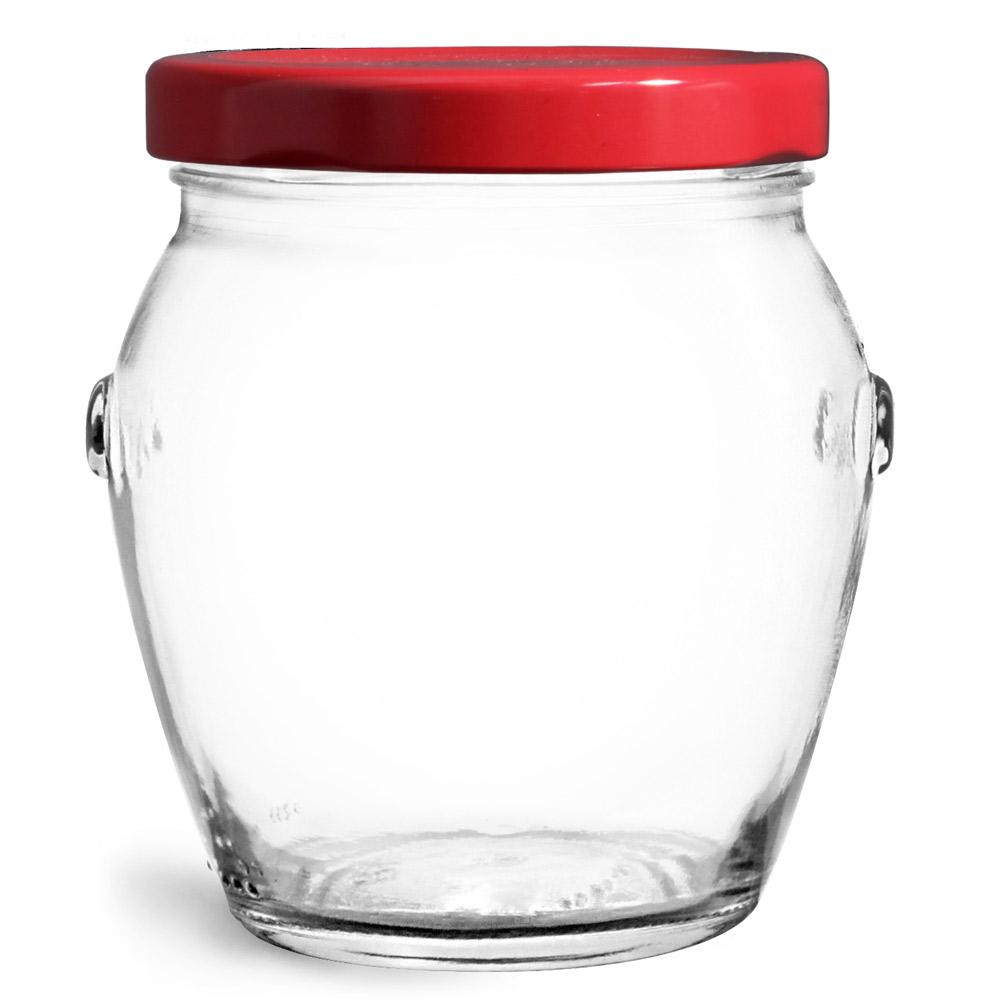 Glass Jars, Clear Glass Honey Pot Jars w/ Red Metal Plastisol Lined Lug Caps