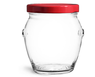 Clear Glass Jars, Clear Glass Honey Pot Jars w/ Red Metal Plastisol Lined Lug Caps