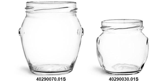 Glass Jars, Clear Glass Honey Pot Jars (Bulk), Caps NOT Included