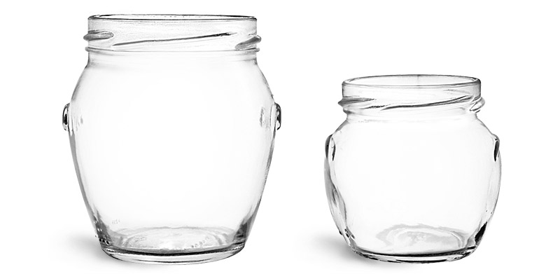 Clear Glass Honey Pot Jars (Bulk), Caps NOT Included
