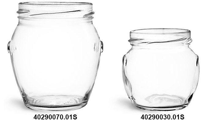 Glass Jars, Clear Glass Honey Pot Jars (Bulk), Caps NOT Included