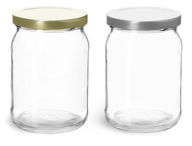 Clear Glass Wide Mouth Jars w/ Metal Lug Caps'