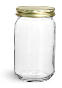Clear Glass Jars, 16 oz Clear Glass Mayo/ Economy Jars w/ Gold Metal Plastisol Lined Caps
