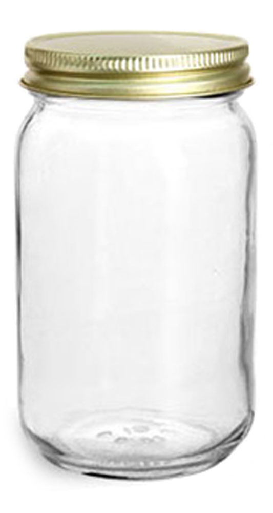 16 oz Clear Glass Mayo/Economy Jars w/ 70G Gold Metal Plastisol-Lined Caps