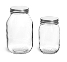 16 oz Glass Jars with Lined Silver Metal Caps