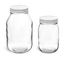 16 oz Glass Jars with Lined White Metal Caps