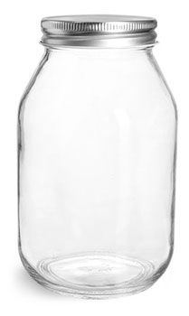 Clear Glass Jars, 32 oz Clear Glass Mayo/ Economy Jars w/ Silver Metal Plastisol Lined Caps