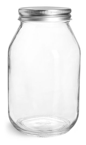 Clear Glass Jars, Clear Glass Mayo / Economy Jars w/ Silver Metal Plastisol Lined Caps