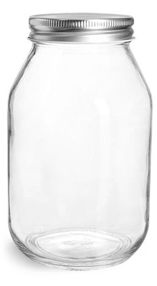 32 oz Clear Glass Mayo / Economy Jars w/ Silver Metal Plastisol Lined Caps