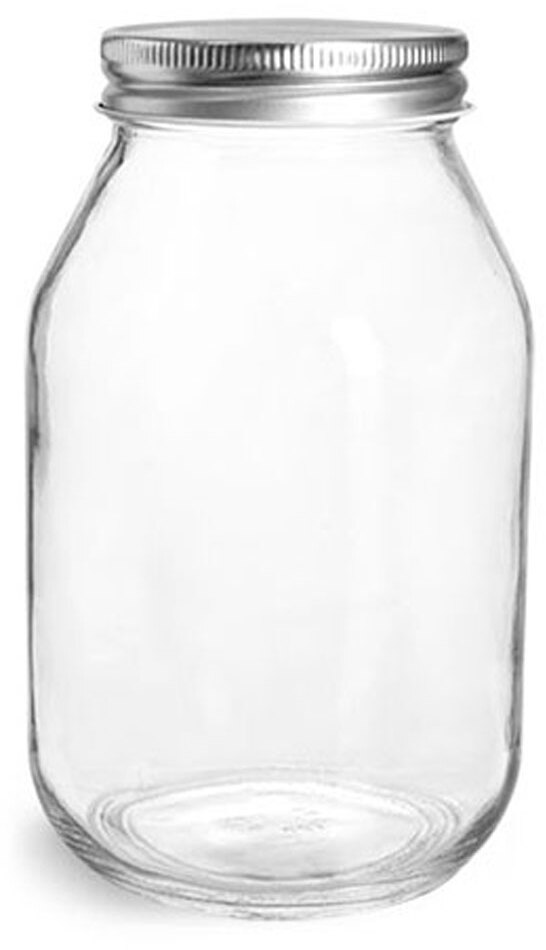 Clear Glass Mayo / Economy Jars w/ Silver Metal Plastisol Lined Caps
