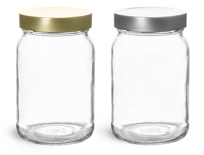 Clear Glass Jars, Clear Glass Wide Mouth Jars w/ Deep Metal Lug Caps