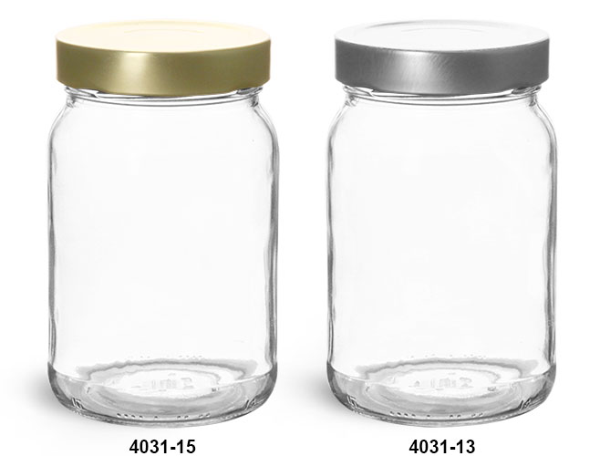 Clear Glass Jars, 16.5 oz Clear Glass Wide Mouth Jars w/ Metal Lug Caps