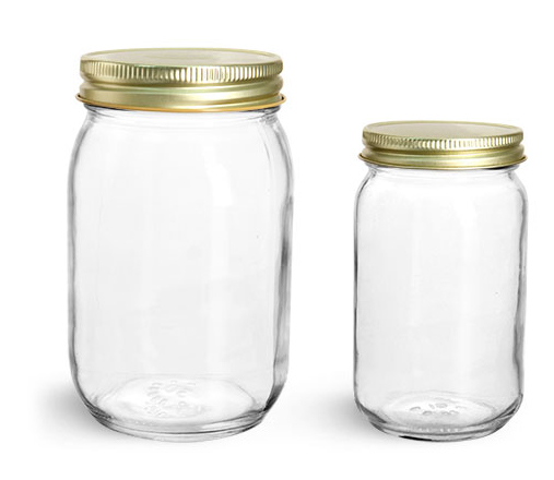 Clear Glass Mayo/Economy Jars w/ 70G Gold Metal Plastisol-Lined Caps'