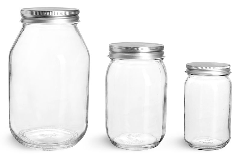 Clear Glass Mayo / Economy Jars w/ Silver Metal Plastisol Lined Caps'