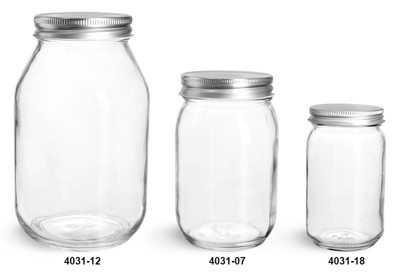 Glass Jars, Clear Glass Mayo/ Economy Jars w/ Silver Metal Plastisol Lined Caps
