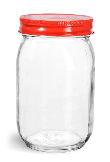 Clear Glass Mayo/ Economy Jars w/ Red Metal Plastisol Lined Caps