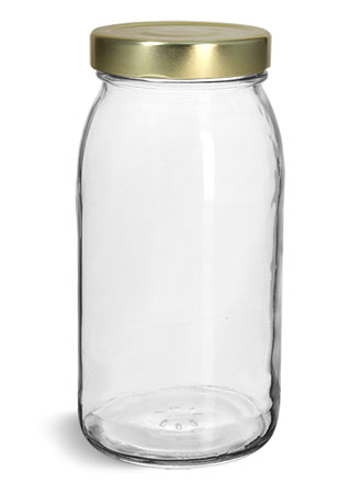 Glass Jars, Clear Glass Wide Mouth Jars w/ Gold Metal Lug Caps