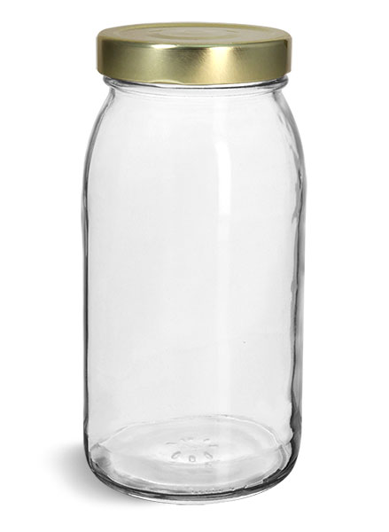 Glass Jars, Clear Glass Wide Mouth Jars w/ Gold Metal Lug Caps '