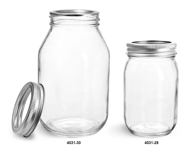 Clear Glass Jars, Clear Glass Mayo/Economy Jars w/ Silver Two Piece Canning Lids
