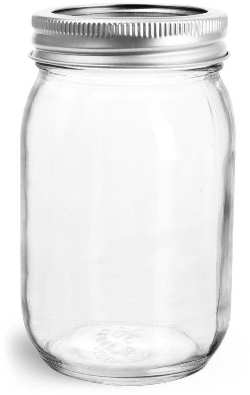 Glass Jars, Clear Glass Mayo/Economy Jars w/ Silver Two Piece Canning Lids
