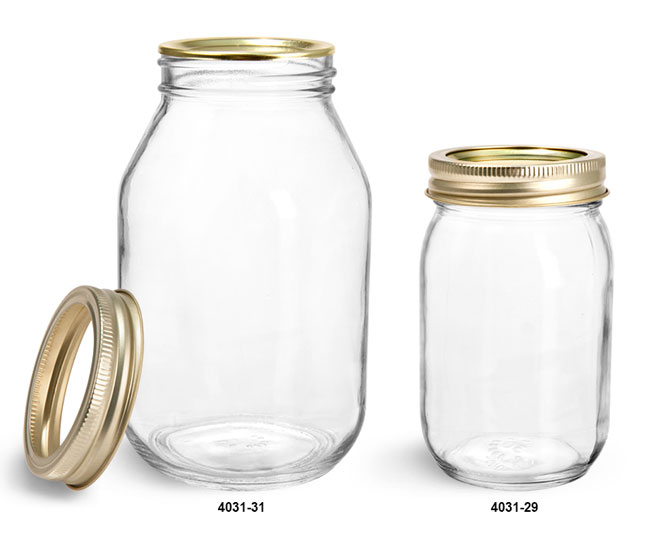 Clear Glass Jars, Clear Glass Mayo/Economy Jars w/ Gold Two Piece Canning Lids