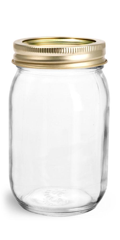 16 oz Glass Jars, Clear Glass Mayo/Economy Jars w/ Gold Two Piece Canning Lids
