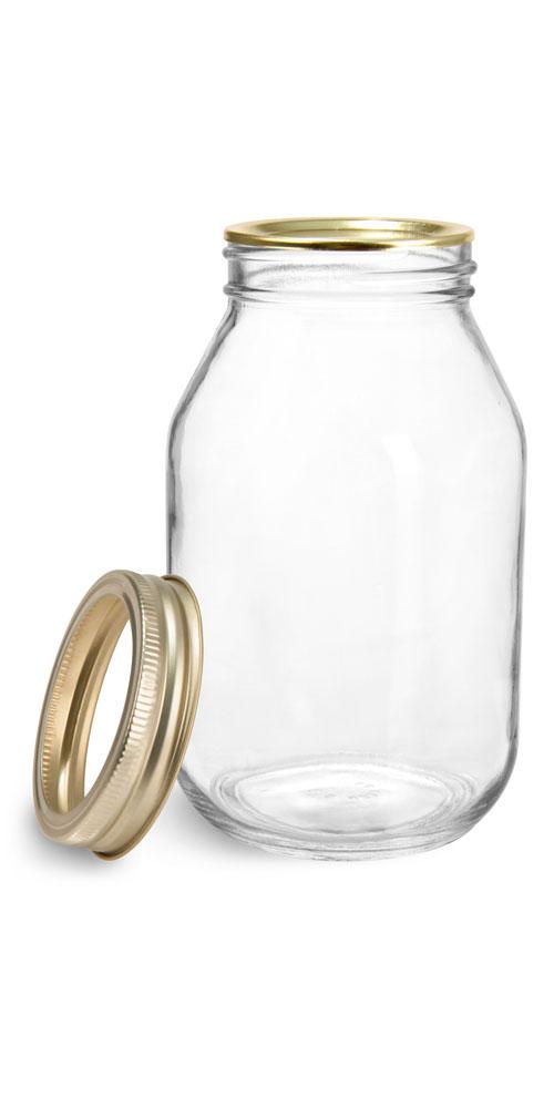 32 oz Glass Jars, Clear Glass Mayo/Economy Jars w/ Gold Two Piece Canning Lids