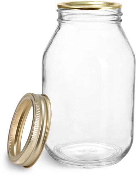 Glass Jars, Clear Glass Mayo/Economy Jars w/ Gold Two Piece Canning Lids