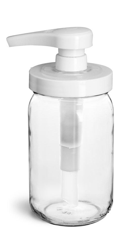 8 oz Glass Jars, Clear Glass Mayo/Economy Jars w/ White PP Pumps