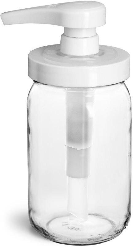 Glass Jars, Clear Glass Mayo/Economy Jars w/ White PP Pumps