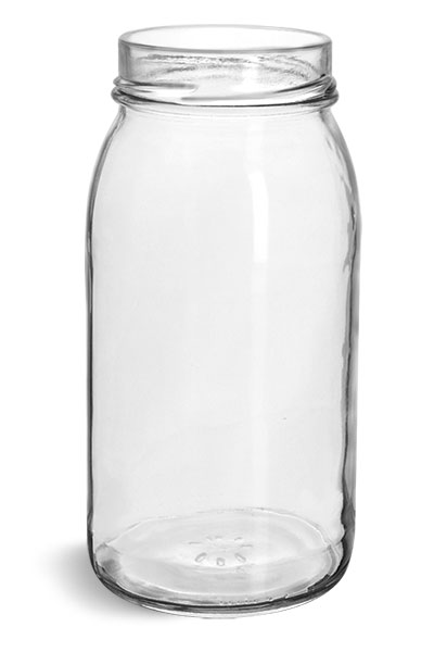 Glass Jars, Clear Glass Wide Mouth Jars (Bulk), Caps NOT Included