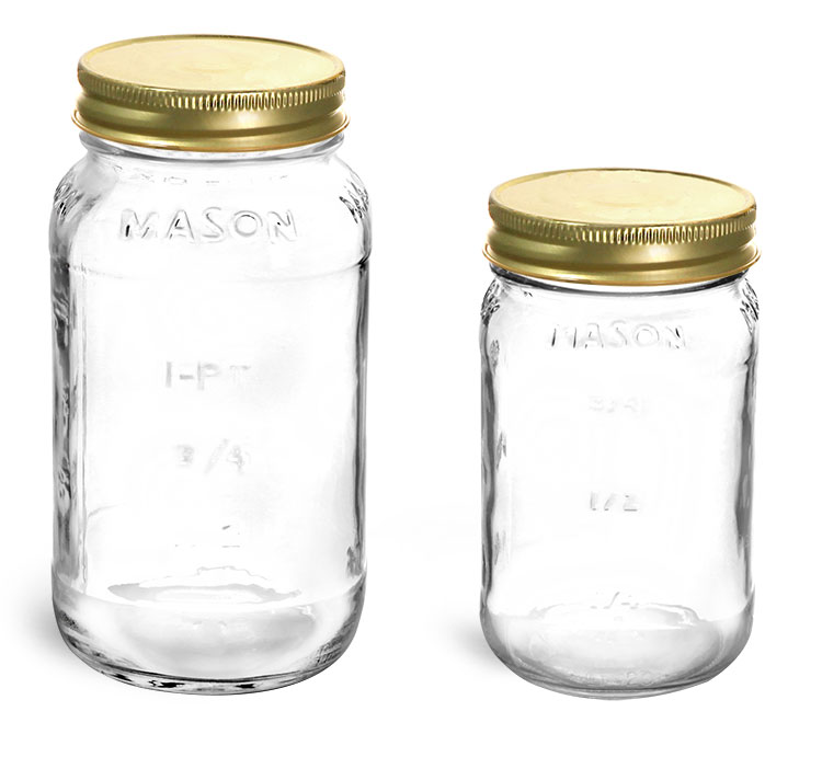 Clear Glass Jars, Clear Glass Mason Jars w/ Gold Metal Plastisol Lined Caps