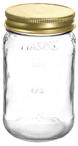 16 oz Flint Glass Mason Jars 70/450
