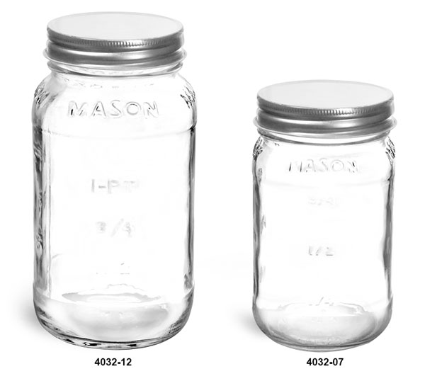 Clear Glass Jars, Clear Glass Mason Jars w/ Silver Metal Plastisol Lined Caps