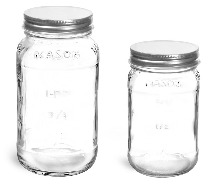 Clear Glass Mason Jars w/ Silver Metal Plastisol Lined Caps'