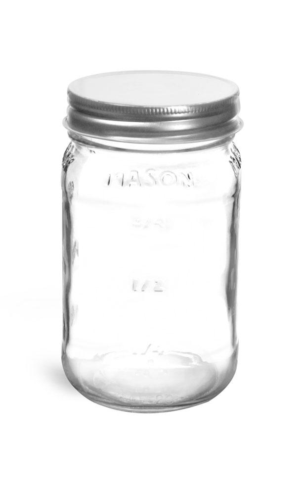 16 oz Clear Glass Mason Jars w/ Silver Metal Caps