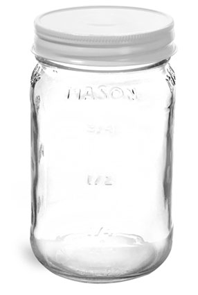Glass Jars, Clear Glass Mason Jars w/ White Metal Plastisol Lined Caps